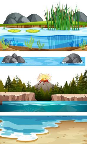 Sats med vatten scener vektor