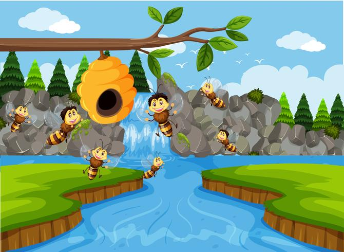 Bienenstock in der Wasserfallszene vektor