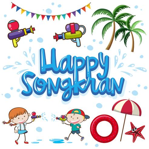 Frohes Sommerfest in Songkran vektor