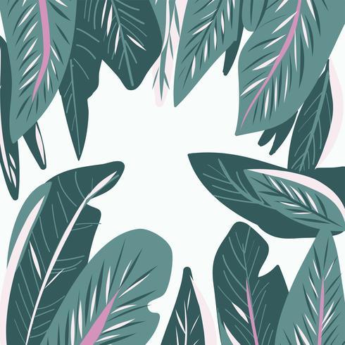 Hand gezeichneter nahtloser Mustervektor des tropischen Blattes vektor