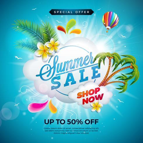 Sommarförsäljning Design med blomma, strandferieelement och exotiska palmblad på havsblå bakgrund. Tropisk blom vektor illustration med specialtyp typografi för kupong