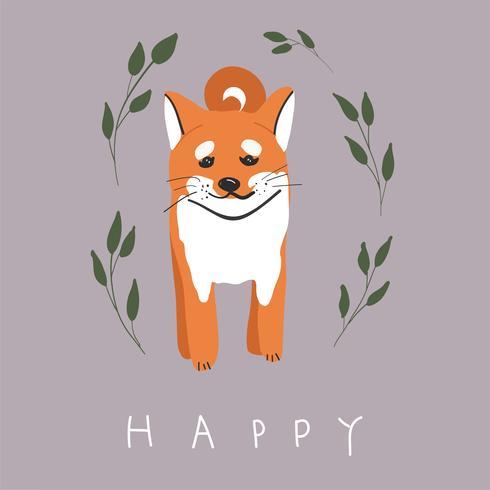 Nettes buntes glückliches shiba inu Hundelächeln lokalisiert auf Seitenansicht des weißen Hintergrundes vektor