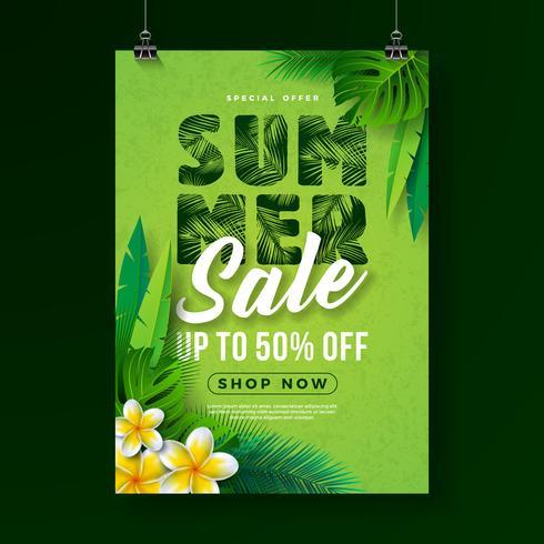 Sommerschlussverkauf-Plakat-Design-Schablone mit Blume und exotischen Blättern auf grünem Hintergrund. Tropische Blumenvektor-Illustration mit Sonderangebot-Typografie für Kupon vektor