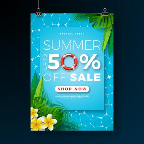 Sommarförsäljning Affischdesignmall med blomma, strandferieelement och exotiska löv på poolbakgrund. Tropisk blom vektor illustration med specialtyp typografi för kupong