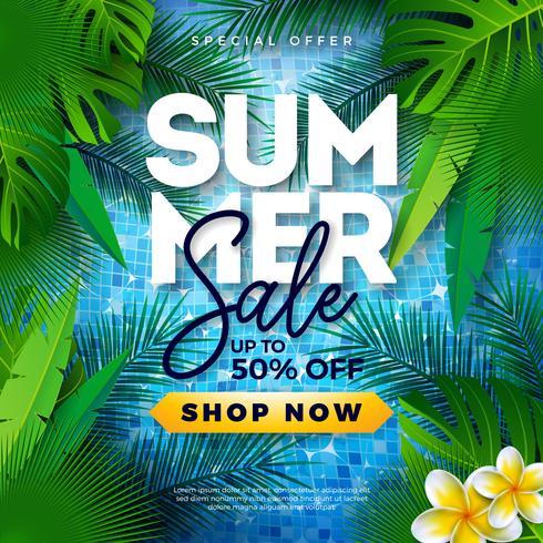 Sommarförsäljning Design med tropiska palmblad och blomma på blå bakgrund. Vector Special Offer Illustration med Summer Holiday Elements