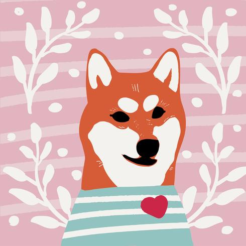 Kawaii hund av shiba inu ras Cartoon stil Vector