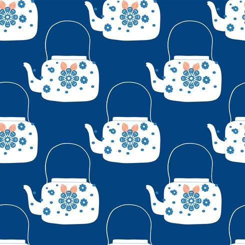 Volkskunst-Teekanne mit Blumenblockdruck-Vektorillustration vektor