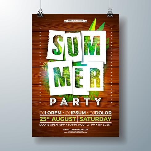 Vektor SummerParty Flyer Design med Tropiska Palmblad och Papperskärning Typografi Brev på Vintage Wood Background. Sommarferie illustration med exotiska växter