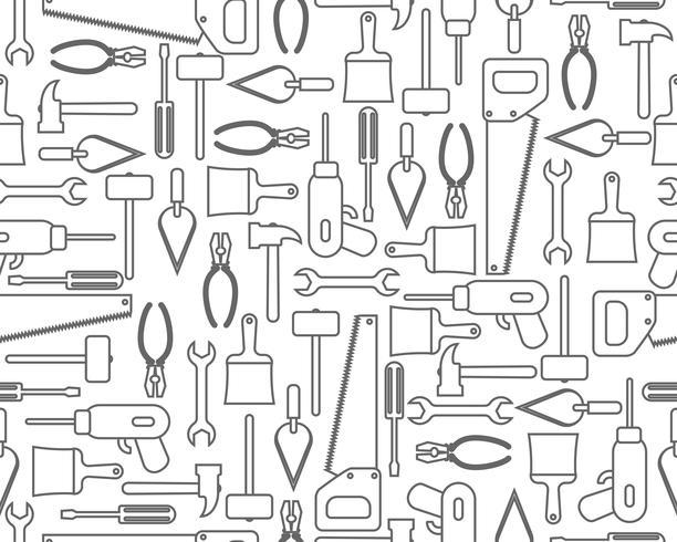 Seamless mönster av ikoner industriell utrustning eller byggverktyg i kontur stil vektor