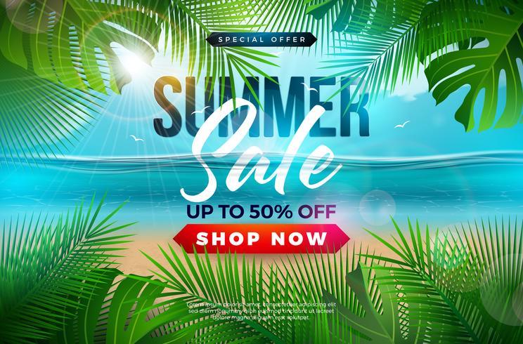 Sommarförsäljning Design med Palmblad och Typografi Brev på Blå Ocean Landskap Bakgrund. Tropisk blom vektor illustration med specialtyp typografi för kupong