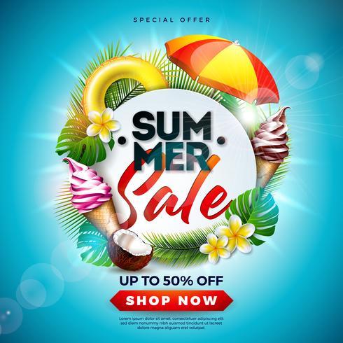 Sommarförsäljning Design med blomma, strandferieelement och exotiska löv på havsblå bakgrund. Tropisk blommig vektor illustration med specialtyp typografi