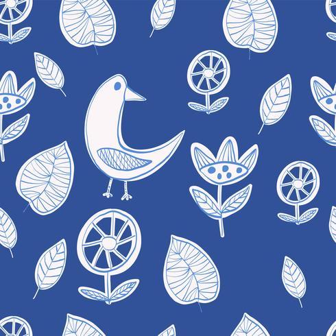 Minimalistic Vektor der einfachen skandinavischen Art des Musters ursprünglichen naiven