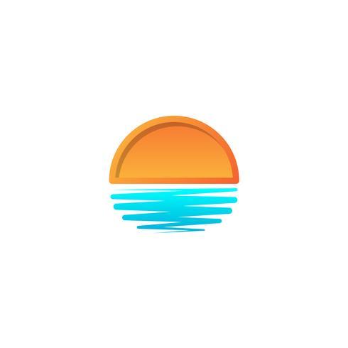 strand solnedgång logo design vektor ikon element, solnedgång logotyp koncept