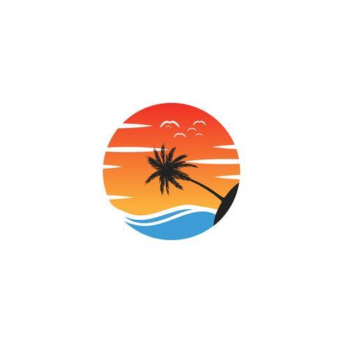 Strandsonnenunterganglogodesignvektor-Ikonenelement, Sonnenunterganglogokonzept vektor
