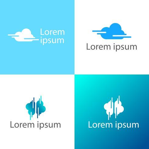 Bewölken Sie kreative Logoschablonen-Vektorillustration, Ikonenelemente vektor