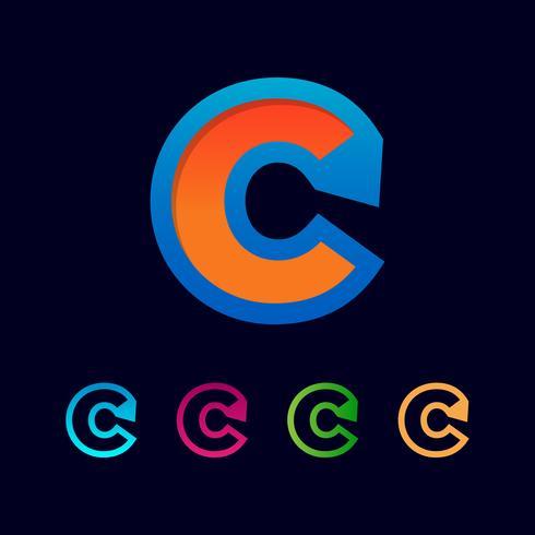Brev C Set Logo mall vektor illustration