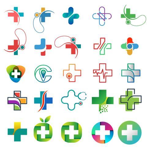 sjukvård logotyp samling designkoncept vektor illustration