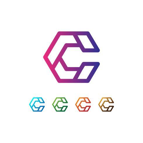 Brev C Set Logo mall vektor illustration redo användning för teknik