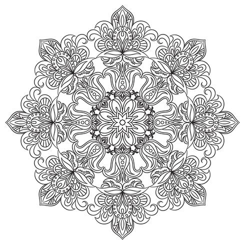 Contour Mandala für Anti-Stress-Malbuch. Dekorative runde Verzierung. vektor