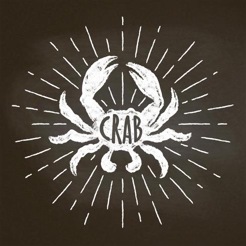 Krabba krita silhoutte med solstrålar på svarta tavlan. Bra för skaldjur restaurang meny design, inredning, logotyper eller affischer. vektor