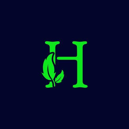 bokstav h blad natur, miljögrön logotyp mall vektor isolerad