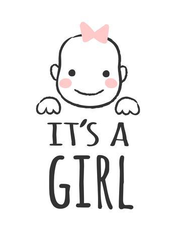 Vektor skisserad illustration med baby ansikte och inskription - Det är en tjej - för baby shower kort, t-shirt tryck eller affisch.