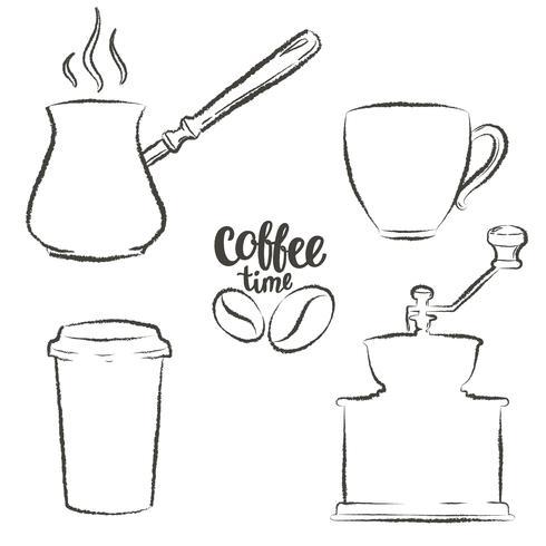Sats med kaffekopp, kvarn, kruka, papperskaffe rånar grunge konturer. Vintage kaffe objekt samling. vektor