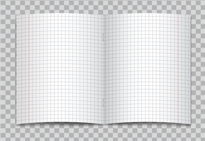 Vektor öffnete realistisches quadratisches Volksschuleschreibheft mit roten Rändern auf transparentem Hintergrund. Modell oder Schablone des freien Raumes grafisch dargestellter geöffneter Seiten des Notizbuches oder des Übungsbuches mit Heftklammern.