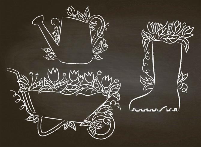 Kreidekonturen der Gießkanne, des Stiefels und des Karren mit Blättern und Blumen Sammlung Gartenarbeitplakate auf Tafel. Gartenarbeit Typografie Plakate festgelegt. vektor