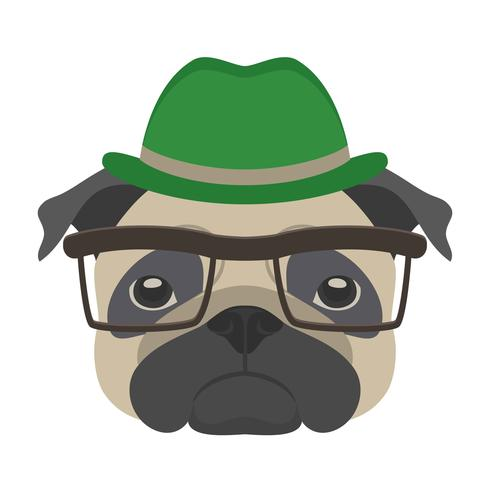 Porträt des Pughundes mit Gläsern und Hut in der flachen Art. Vector Illustration des Hippie-Hundes für Karten, T-Shirt Druck, Plakat.
