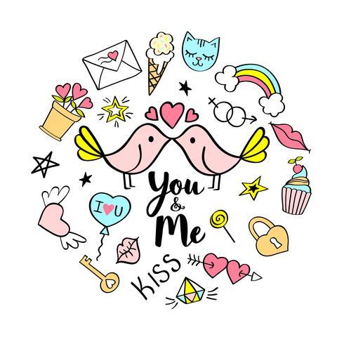 Du och mig bokstäver med flickaktiga klotter för valentines dagkortdesign, flickans t-shirt, affischer. Handritad snygg komisk slogan i tecknad stil. vektor