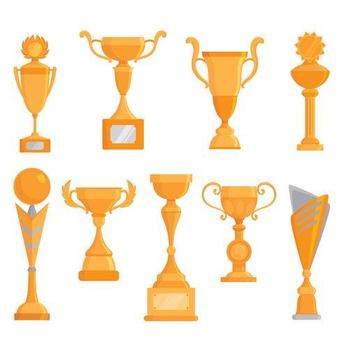 Vektor platta guldgobletikonen i platt stil. Vinnare utmärkelse. Golden trophy
