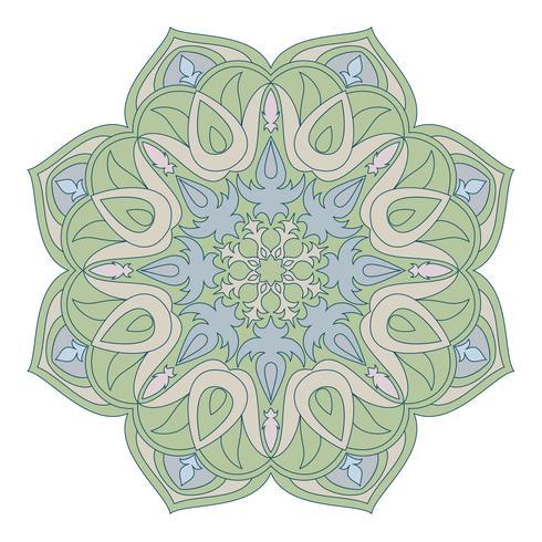 Vektor Mandala. Orientaliskt dekorativt element. Islam, arabiska, indiska, turkiska, pakistan, kinesiska, osmanska motiv. Etniska designelement. Handdragen mandala. Färgrik mandala symbol för yor design.