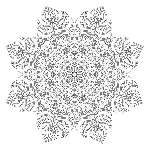Vektor Mandala. Orientalisches dekoratives Element. Islamische, arabische, indische, türkische, pakistanische, chinesische, osmanische Motive. Ethnische Designelemente. Handgezeichnete Mandala. Monochrome Kontur Mandala zum Ausmalen.