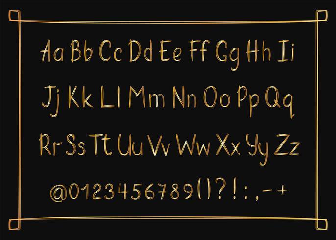 Goldenes Alphabet in der flüchtigen Art mit Rahmen. Vector handgeschriebene Bleistiftbuchstaben, -zahlen und -Interpunktionszeichen. Gold Stift Handschrift Schriftart.