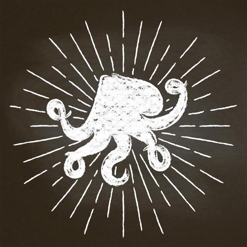 Bläckfisk krita silhoutte med solstrålar på svarta tavlan. Bra för skaldjur restaurang meny design, inredning, logotyper eller affischer vektor