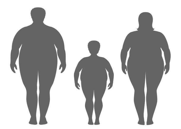 Silhuetter av fet man, kvinna och barn. Obese familj vektor illustration. Ohälsosam livsstilskoncept.