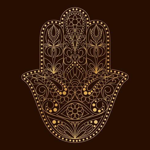Handgezeichnete Hamsa-Symbol. Hand von Fatima. Ethnisches Amulett, das in indischen, arabischen und jüdischen Kulturen verbreitet ist. vektor