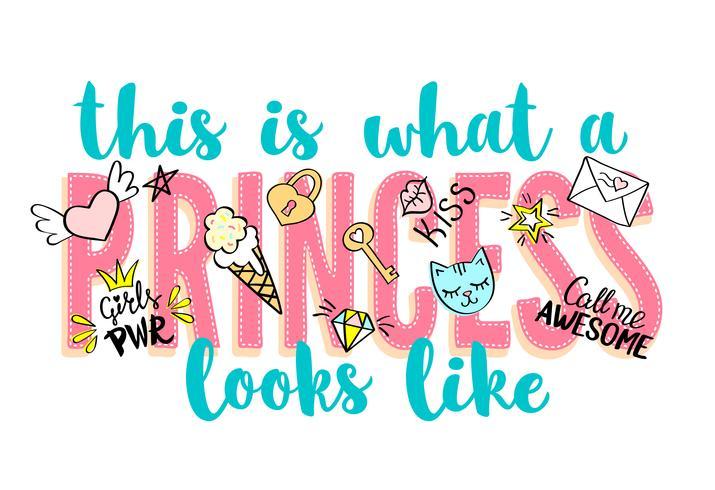 Princess Party bokstäver med flickaktiga klotter och handritade fraser för valentines dagkortdesign, flickans t-shirtutskrift. Handritad Princess Party slogan. vektor