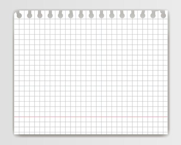 Leeres quadratisches Kopienbuchblatt mit heftigem Rand. Modell oder Schablone der karierten Notizblockseite für Ihren Text. vektor