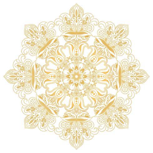 Ethnisches dekoratives Gestaltungselement. Mandala-Symbol. Runde abstrakte Blumenverzierung vektor