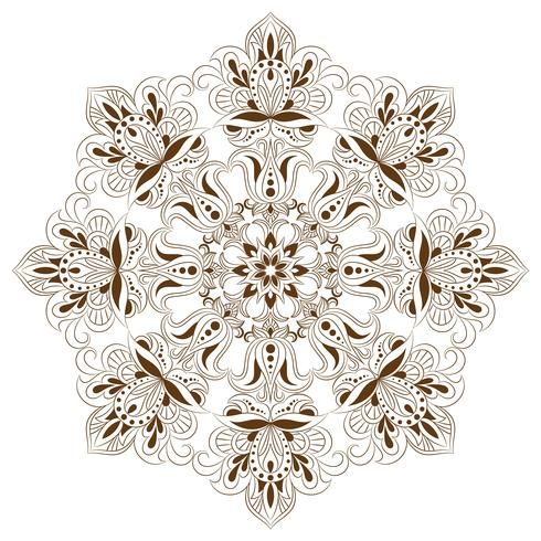 Orientaliskt dekorativt element för vuxen färgbok. Etnisk monokrom prydnad vektor
