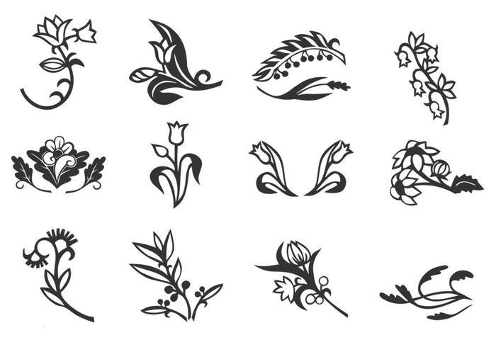 Blommig ornament vektor uppsättning