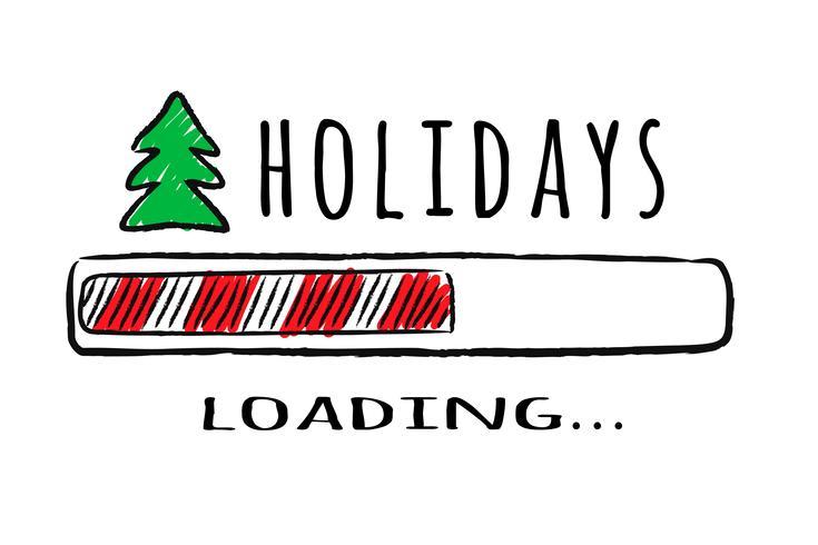 Progress bar med inskription Holidays loading och fir-tree i sketchy stil. Vektorjulillustration för t-shirtdesign, affisch, hälsning eller inbjudningskort. vektor
