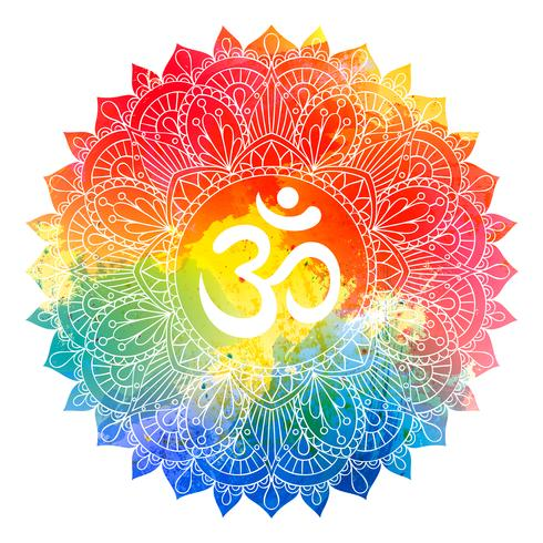 Mandalaverzierung mit OM-Symbol über buntem Aquarellhintergrund. Aum, Ohm-Aufschrift in gezeichnetem Muster der Weinlese Runde Hand für Karteneinladungsdesign, T-Shirt Druck, Hochzeitskarte. Tätowierungselement. vektor