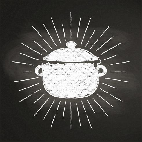Kalk silhoutte av kokande kruka med vintage solstrålar på svarta tavlan. Bra för att laga logotyper, bades, menydesign eller affischer. vektor