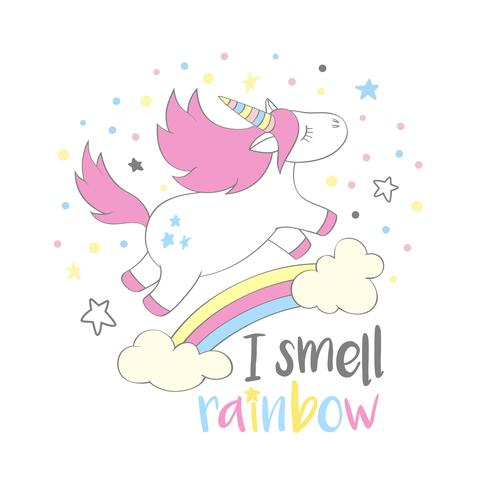 Magisches niedliches Einhorn in der Cartoonart mit Handbeschriftung rieche ich Regenbogen. Kritzeln Sie das Einhornfliegen über einem Regenbogen und Wolkenvektorillustration für Karten, Poster, Kindert-shirt Drucke, Textildesign. vektor