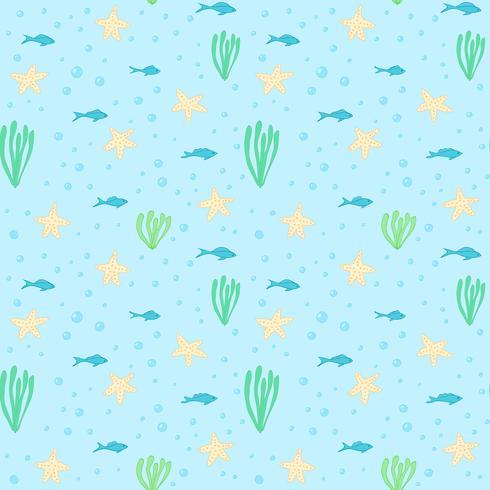 Undervattens sömlösa mönster. Seamless mönster med undervattenselement. Sammansättning vektor