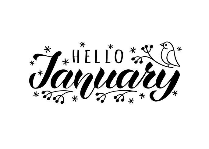 Hej januari handritat brevkort med doodle snowlakes och fågel. Inspirerande vintercitationstecken. Motivational print för inbjudan eller hälsningskort, broschyrer, affisch, t-shirts, muggar. vektor