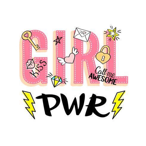 Tjej Effektbokstäver med flickaktiga klotter och handritade fraser för valentines dagkortdesign, flickans t-shirtutskrift. Handritad snygg komik feminism slogan i tecknad stil. vektor